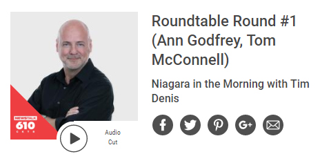 Newstalk 610 CKTB Roundtable Round #1 with Ann Godfrey and Tom McConnell